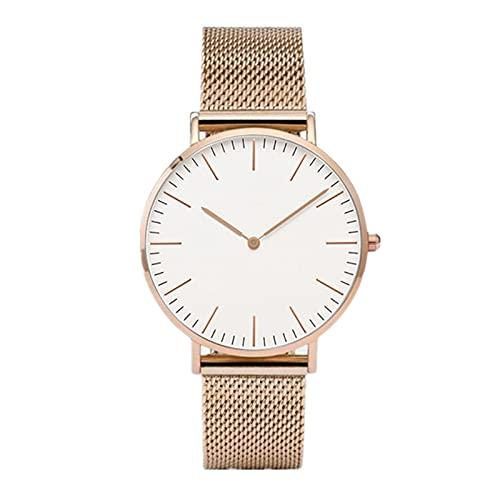 TASGK Aing Store Relojes de Pulsera Mujeres de cinturón de Malla de Acero Inoxidable Reloj Reloj de Cuarzo Reloj de muñeca (Color : Rose Gold White)