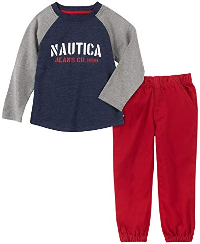 Nautica - Conjunto de 2 Pantalones para bebé, Gris/Azul Marino, 12m
