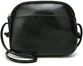 Leather New Women's Shoulder Wallet Wild Shell Handbags Simple Mini Summer Shoulder Messenger Wallet Waterproof (Color : Black, Size : S)
