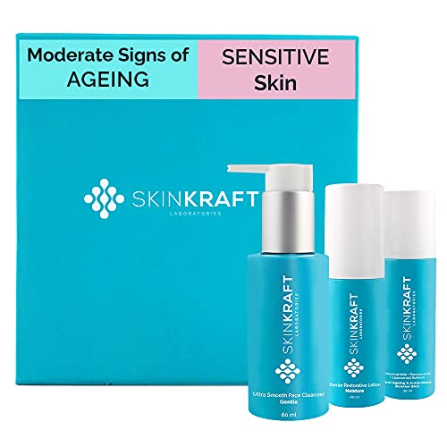 SkinKraft Moderate Signs Of Ageing Facial Kit For Sensitive Skin – Customized Skincare Kit – 3 Product Kit- Sensitive Skin Cleanser + Sensitive Skin Moisturizer + Moderate Signs Of Ageing Active Serum – Dermatologist Approved