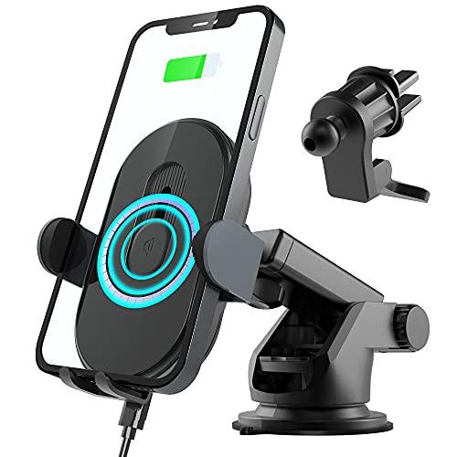 Handyhalterung Auto mit Ladefunktion, 15W Fast Qi Magnet Wireless Car Charger Induktion mit Saugnapf und Luftauslass-Clip, Kabellose Kfz Handyl Ladegeräte für iPhone Samsung Huawei usw