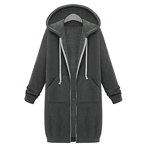 LaiYuTing Autumn and Winter Women's Mid-Length Hooded Long-Sleeved Sweater Women's Winter Jacket Dark Gray