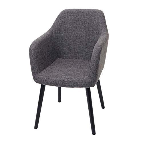 Mendler Eetkamerstoel Malmö T381, stoel keukenstoel, retro jaren '50 design 88 x 58 x 64 cm textiel, grijs, donkere poten.
