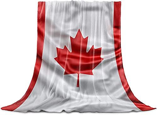 BONRI Manta de franela con diseño de hoja de arce para el día nacional de Canadá, manta de microfibra para sofá y sofá, bandera canadiense de 127 x 152 cm