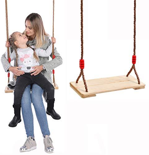 Huike Holz Schaukelsitz Erwachsene Schaukel Kinderschaukel Garten Brettschaukel für Outdoor & Indoor Spiele mit Höhenverstellbar Seil