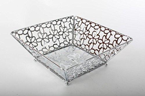 AVENUELAFAYETTE Corbeille Panier à Fruits carré métal chromé décor Fleur