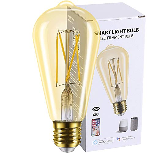 Smart Light Bulb WiFi Edison LED Bulb Works with Amazon Alexa and Google Assistant, Vintage Dimmable E26 ST21 ST64 60W Equivalent 2700K Soft White Smartoto No Hub Required Amber Gold Glass (1 Pack)