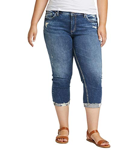 Silver Jeans Co. Women's Plus Size Elyse Curvy Fit Mid Rise Capri Jean, Distressed Dark Indigo Wash, 16W