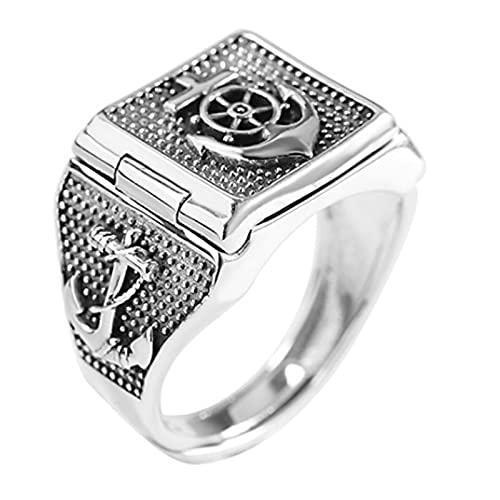 CHXISHOP Anillo para hombre, plata 925, anillo de ancla de personalidad, anillo de dedo con índice antiguo, apertura, tamaño ajustable