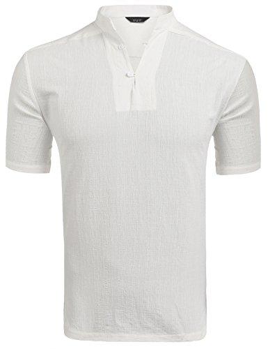 COOFANDY Shirt Herren Kurzarm Poloshirt Baumwollmischung Stehkragen Regular Fit Atmungsaktiv Sommer T-shirt für Männer