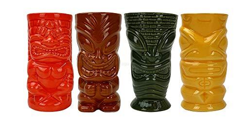 Mahiki Tiki Keramik-Becher, 4X Tiki Mug, Orange/Braun/Grün/Gelb/Cocktailbecher in Tiki-Version