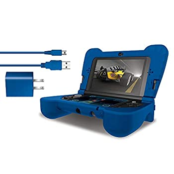 dreamGEAR DG3DSXL-2274 Power Play Kit Accessories  Compatible with Nintendo NEW 3DS XL 3-In-1 Bundle Soft Comfort Grip Case Charging Cable AC Adapter Blue