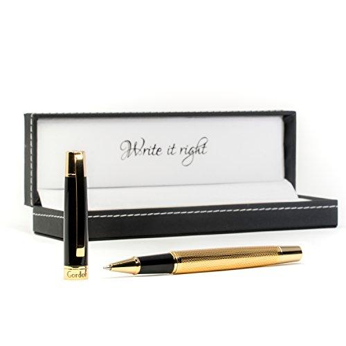Premium Kugelschreiber Gordon hochwertig Gold Stil - edel elegant stilvoll - Business Kuli mit Lederbox Geschenk Etui - Hochwertiger edler Stift
