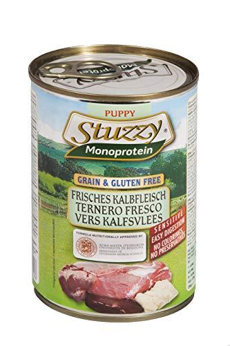 Stuzzy Dog Monoprotein Puppy Kalb, Hundefutter nass für Welpen, 6 Dosen x 400 g, 2.4 kg