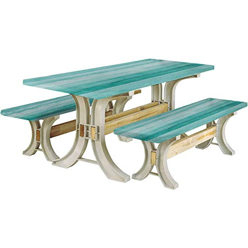 Teal Picnic Table and Bench Fitted Tablecloth Cover,Painted Wood Board with Horizontal Lines Birthdays Easter Holiday Backdrop Image 72' Elastic Edge Fitted Tablecloth Set for Outdoor,Park,Patio,Turq