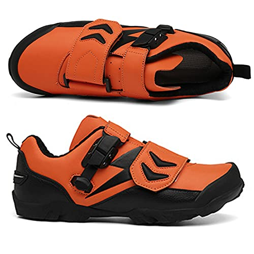 Scarpe da Ciclismo Antiscivolo per Uomo Donna Scarpe da Bici da Montagna e da Strada Traspiranti Interne Scarpe Sportive Assistite di Grandi Dimensioni,Orange-41