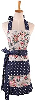 First Kitchen Blue and White Floral Pattern Women's Apron,Mother's Day Gift Apron, Double Layer 100% Cotton Kitchen Apron Cooking Baking Garden Chef Apron Bib with Pocket Great Gift for Housewife
