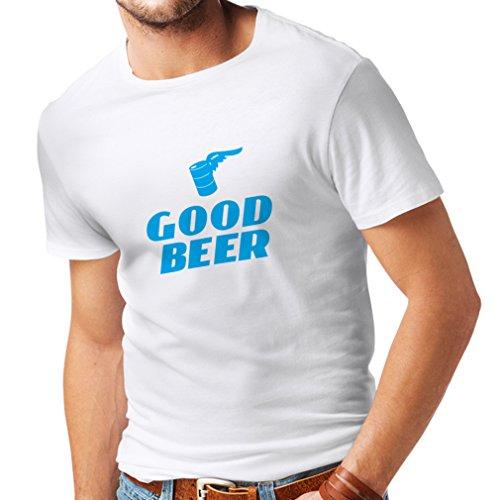 lepni.me Männer T-Shirt Ich Brauche EIN gutes Bier, Geschenk für Bierliebhaber Partykleidung (Small Weiß Blau)
