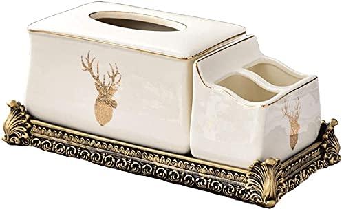 Cuadro de pañuelas Cubierta de la cubierta Decoración de hielo Caja de tejido de cerámica 2 en 1 Multifunción Teléfono Móvil Control remoto Caja de almacenamiento Tarjeta Sala de estar Papel de mesa,