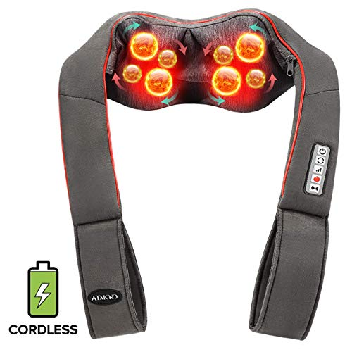 [Cordless] Shiatsu Neck and Shoulder Back Massager with Heat Vibration Function, 5 Keys Battery Powered Electric Massager Machine with Washable Mesh for Muscle Tension Pain Relief for Family Workers