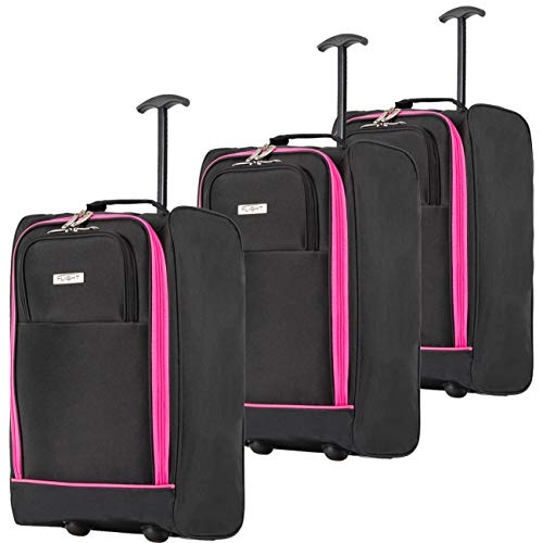 Flight Knight Set of 3 55x35x20cm Carry On Cabin Suitcase easyJet Ryanair Approved 2 Wheels Lightweight Bag Ideal for Airline Travel