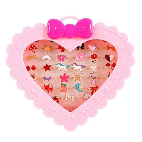 36 Pcs Little Girl Jewelry Rings Children Kids Rings Gift Jewelry Adjustable Rings in Box Girl...