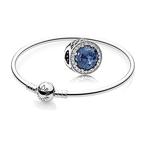 Original Pandora Geschenkset - 1 Silber Armreif 590713-21 und 1 Silber Charm Mitternachtsblauer Strahlenkranz der Herzen 791725NMB
