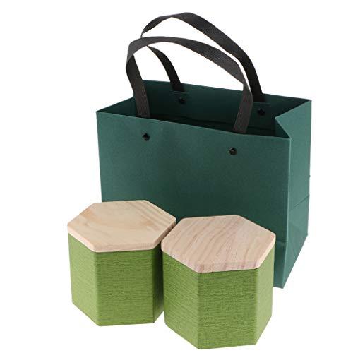Fenteer 2er-Set Vorratsdosen Teedosen Teebox Kaffeedose Zuckerdose Behälter mit Deckel und Geschenktasche - Grün