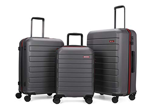 GinzaTravel Hardside Spinner, Carry-On, Wear-resistant, scratch-resistant Suitcase 20''24''28''set Luggage with Wheels (3-piece Set, Grey color)