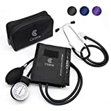 Clairre Professional Sphygmomanometer Manual Blood Pressure Cuff and Stethoscope Kit for Nurses/Doctors/Nursing Students, Carrying Case Included, Universal Cuff Size: 9-16 inch (Black)