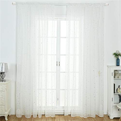 Stars Tulle Curtains, Glitter Star Voile Sheer Curtain Shiny Star Transparent Curtain Panel Pencil Pleat Tulle Curtains Drape Valance Window Treatment for Living Room Bedroom Home Decoration (White)