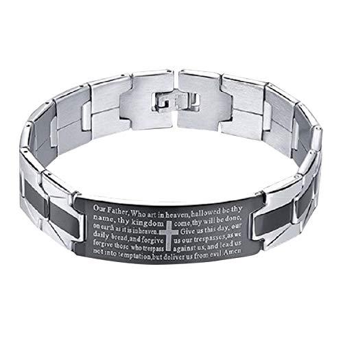 BMC Stainless Steel Silver Bracelet Lords Prayer Cross Bangle Jesus UK SELLER Fits Up 19.5cm