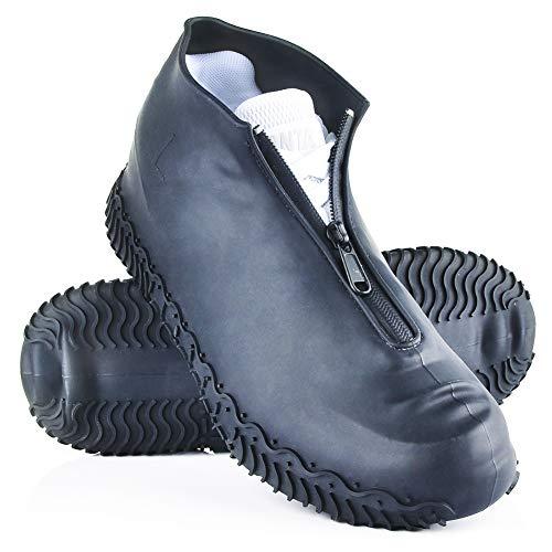ydfagak Cubierta del Zapato, Funda de Silicona para Zapatos con Suela Antideslizante y Diseño de Cremallera, Funda de Zapato Reutilizable & Impermeable para Días de Lluvia y Nieve (L (39-42), Negro)