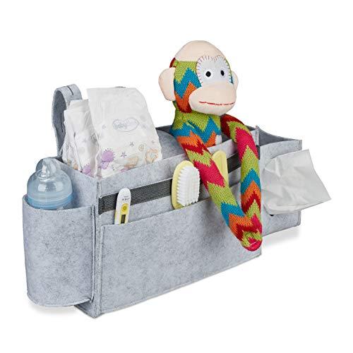 Relaxdays Betttasche Hochbett, 8 Fächer, Baby-& Pflegebett, Filz Bett Organizer zum Anhängen HBT 23x43x11 cm, hellgrau