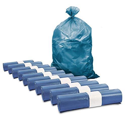 Müllsäcke, 250 St. extra starke blaue Müllbeutel, 120 l Fassungsvermögen, 700 x 1.100 mm, Typ 70 mit 42 my, besonders reißfest, ideal für Garten, Umzüge, Entrümpelungen & Haushalt, 10er Pack