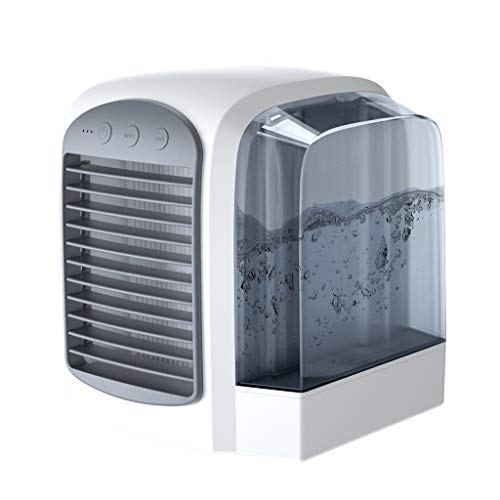 YUWEX Portable Air Conditioner, Evaporative Air Conditioner Fan with Humidifier Air Purifier Personal Air Cooler Misting Fan with 380mL Water Tank Super Quiet Desk Fan with 3 Speeds for Home Office