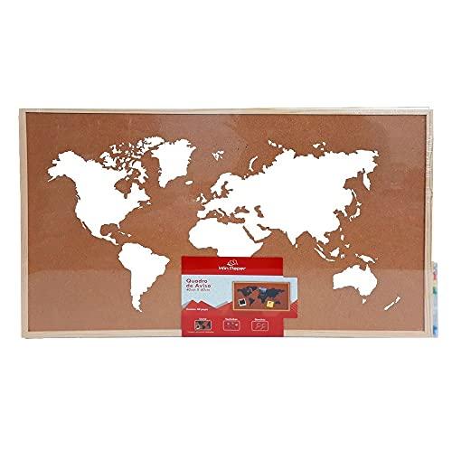 Quadro de Aviso Cortiça Mapa Mundi Branco Win Paper