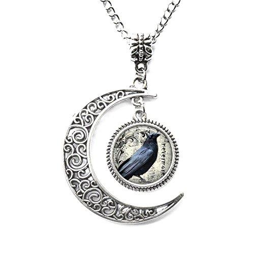Charm Crescent Moon Poe's Raven Pendant, Raven Necklace Poe Nevermore Goth Jewelry Literary Pendant, Raven Jewellery