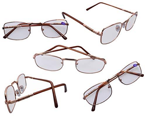 flevado Gold-braune Lesebrillen im 5 er Pack mit Federung und Metallrahmen Stärken der Brillen Lesehilfen +1.0/+1.5/+2.0/+2.5/+3/+3.5/+4 sind wählbar (3.0)