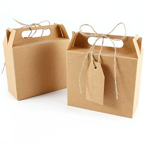 25 unds Caja Bolsa de Papel Kraft con Etiqueta Cinta para Dulces Regalos Recuerdo Detalle para Boda (marrón)