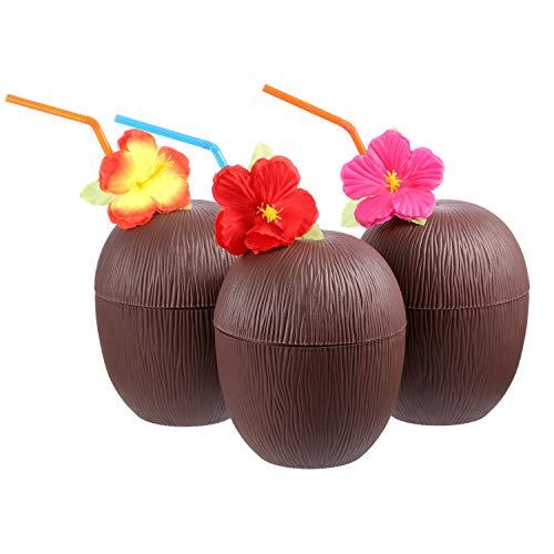 Ajboy 3 Kokosnuss-Tassen für Hawaii mit Hibiskusblüte, biegbare Strohhalme, lustige Getränke-Becher, Dekoration für Strand, Themenpartys, 3 Stück, 11 x 13 cm