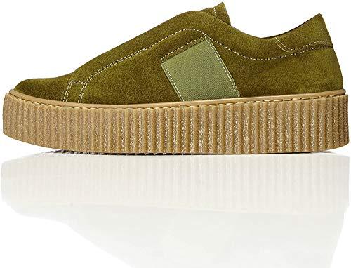 FIND find. Plateauslipper Damen Sneaker-Design und gerippte Sohle, Grün (Green), 36 EU