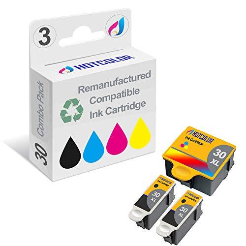 HOTCOLOR Compatible Replacement Ink Cartridge for Kodak 30XL Kodak 30B 30C 2 Black 1 Color for Kodak Hero 3.1 5.1 Office 2150 2170 Printers