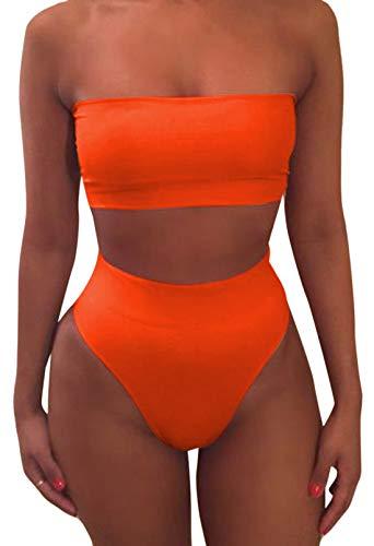 Pink Queen Women's Remove Strap Pad High Waist Bikini Set Swimsuit Orange, X-Large