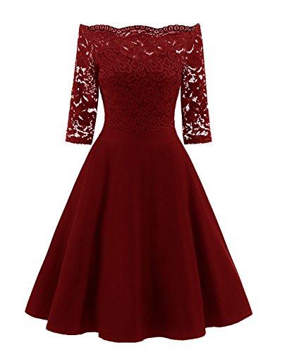 Viloree 50s Rockabilly Retro Damen Kleider Halbarme Swing Cocktailkleider Party Abschlussball Burgundy L