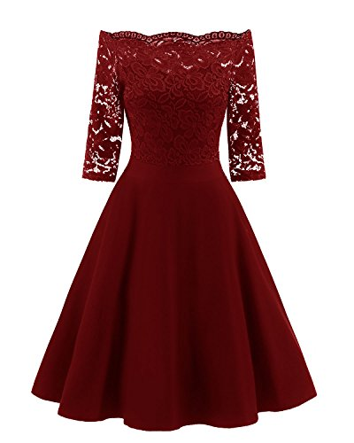Viloree 50s Rockabilly Retro Damen Kleider Halbarme Swing Cocktailkleider Party Abschlussball Burgundy M