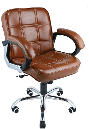 Oakcraft Office Chair Executive Office Chair Desk Chair Computer Chair with Ergonomic Support Tilting Function Upholstered in Leather (Brown)