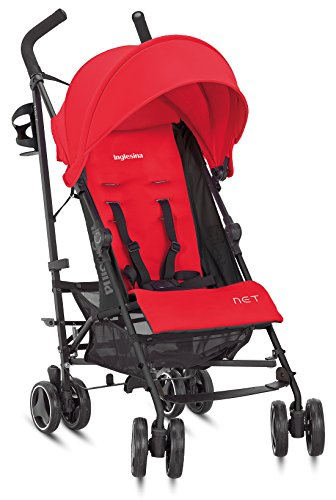 Inglesina Net Stroller - Lightweight Summer Travel Stroller - UPF 50+ Protection Canopy with Removable and Washable Seat Pad {Paprika/Red}