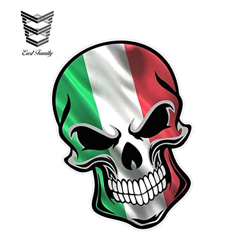 FAFPAY Car sticker  12cm x 8.3cm gothic biker skull with italian italy il tricolore flag motif vinyl external decal car stickers   Style A