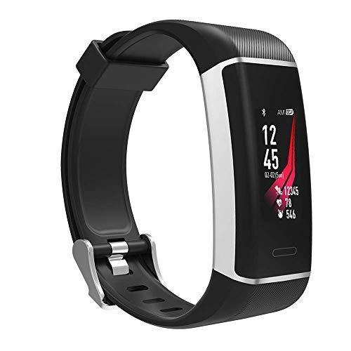 Fitness-Tracker Athletic - Sport-Uhr mit integriertem GPS-Chip, Farbdisplay, Wecker, Schrittzähler, permanente Herzfrequenz-Messung, Uhren-Verschluss, Wasserdicht IP67 - deutsche Anleitung (schwarz)